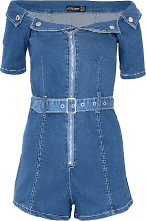 Noroze Womens Front Zip Denim Bodycon Bardot Playsuit (12, Blue)