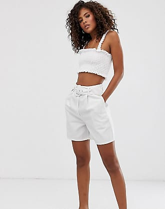 Asos Tall ASOS DESIGN Tall - Jeans-Hosenrock in gebrochenem Weiß mit Gürtel
