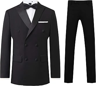 Dobell Mens Black 2 Piece Tuxedo Regular Fit Peak Lapel Double Breasted (40R Jacket with 34R Trousers)