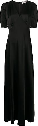 Diane Von Fürstenberg Vestido longo decote em V - Preto