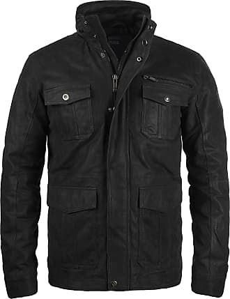 Solid Lash Mens Genuine Leather Biker Jacket With Stand-up Collar - Black - 0-3 Months
