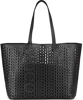HUGO BOSS Italian-leather shopper bag with laser-cut logo pattern