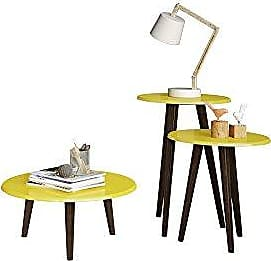 Manhattan Comfort Carmine Collection Mid Century Modern Accent Round End Tables With Splayed Legs, 3 Piece Set, Yellow/Wood