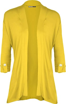 WearAll New Ladies Plus Size Short Sleeve Button Open Cardigan Womens Stretch Top Yellow 26/28