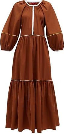 Staud Demi Tiered Cotton-blend Poplin Maxi Dress - Womens - Light Brown
