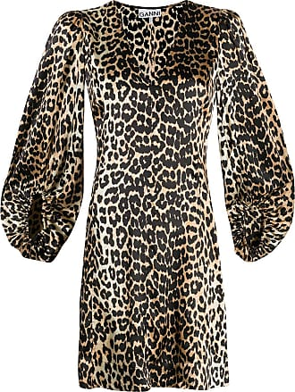 Ganni leopard print mini dress - Brown