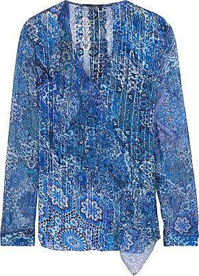 b429ad310c3456 Elie Tahari Elie Tahari Woman Zona Ruffle-trimmed Printed Silk-chiffon  Blouse Blue Size