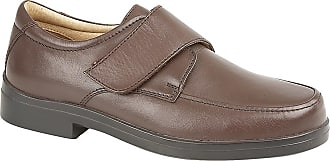 Roamers Mens Roamers Leather MudGuard Touch Fastening Leather XXX Wide Shoes - Brown Softie Leather, Mens UK 11 / EU 45