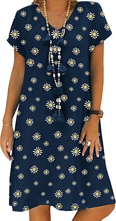 Yidarton Womens V Neck Summer Dress Short Sleeve Casual Midi Dress Chic Vintage Ethnic Sundress Solid Color Loose Linen Dress Without Accessories (Zv/Dark Blue