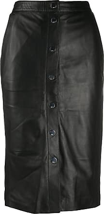 Karl Lagerfeld Saia cintura alta de couro - Preto