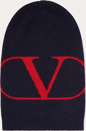 Valentino Valentino Uomo Cappello Beanie Vlogo Signature Uomo Navy/ Rosso Lana Vergine 70%, Cachemire 30% OneSize