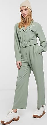 & Other Stories pocket detail long sleeve jumpsuit in khaki-Green