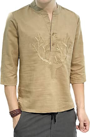 Hellomiko Mens Chinese Style Loose Cotton and Linen Casual Shirt Round Neck Embroidery 3/4 Sleeve Shirt Dark Khaki