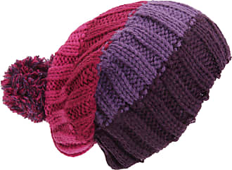 Universal Textiles Adults Unisex Striped Cable Knit Winter Bobble Hat (One Size) (Pink/Raspberry/Lilac/Purple)
