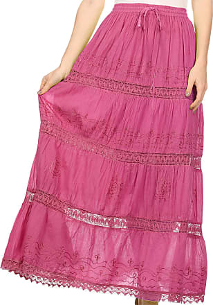 Sakkas 254 Solid Embroidered Gypsy/Bohemian Full/Maxi/Long Cotton Skirt - Fuschia/One Size