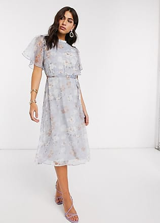 Vila chiffon midi dress with open back and flutter sleeves in soft blue floral