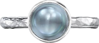 Dower & Hall 8mm Dove Grey Pearl Hammered Twinkle Ring