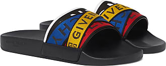 Givenchy Logo-jacquard Webbing, Leather And Rubber Slides - Multi