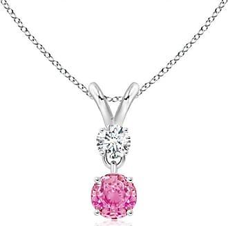 Angara Valentine Day Sale - Round Pink Sapphire and Diamond Two Stone Pendant