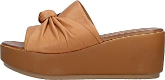 Inuovo Leather Band Slippers Wedge Height 7 cm MOD. 8698 Coconut Beige Size: 8.5 UK