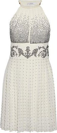 Versace Versace Collection Woman Crystal-embellished Plissé-georgette Halterneck Mini Dress Ecru Size 40