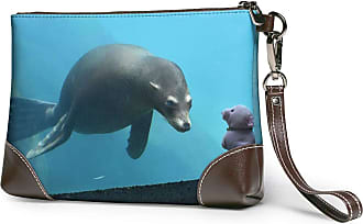 GLGFashion Womens Leather Wristlet Clutch Wallet Sea Lions Storage Purse With Strap Zipper Pouch