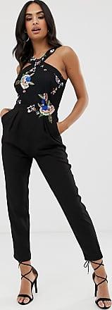 Little Mistress crossover straps tailored jumpsuit-Black