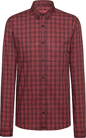 HUGO BOSS Extra-slim-fit checkered shirt in cotton tweed