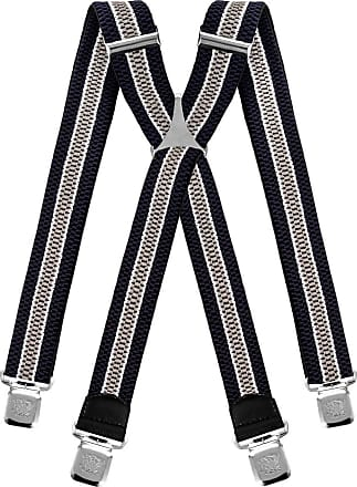 Decalen Mens braces wide adjustable and elastic suspenders X shape with a very strong clips Heavy duty (Navy Blue White Silver)