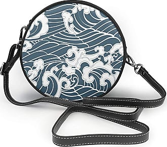 Turfed PU Round Shoulder Bag Japanese Wave Hand Drawn Traditional Style Aquatic Doodle River Storm Retro Abstract Slate Cross Body Bag