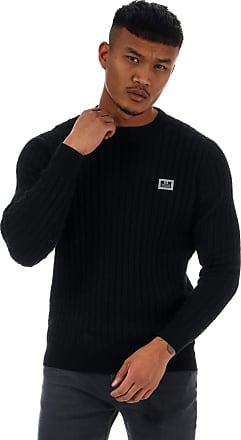 Weekend Offender Mens Mens Burnham Cotton Cable Knit in Black - 2XL