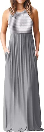 FNKDOR Women O Neck Casual Maxi Dress with Pockets Plain Loose Swing Short Sleeve Floor Length Dress Loose Party Dress Going Out Straight Skirt(Y-Gray1,UK-12