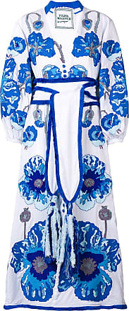 Yuliya Magdych belted embroidered dress - White