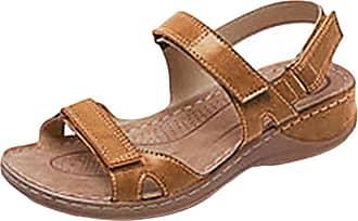 junkai Juleya Women Sandal Shoes Comfy PU Leather Platform Flat Sandals Post Toe Velcro Shoes - Summer Beach Travel Shoes for Shopping Beach Holiday Brown