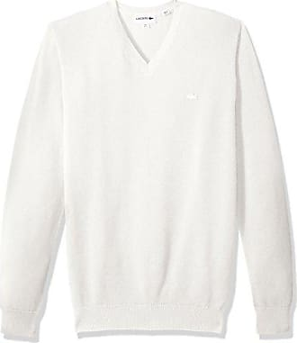 3b7a3f716415 Lacoste Mens Long Sleeve Pique Mesh Effect V-Neck Sweater