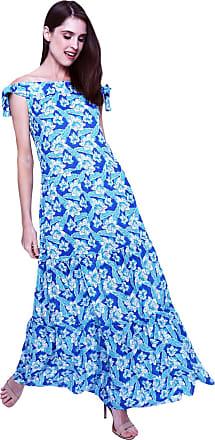 101 Resort Wear Vestido Longo 101 Resort Wear Cigana Ombro a Ombro Saia Babados Viscose Estampada Floral Azul