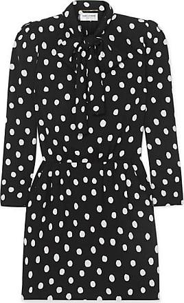 8a5774c9339 Saint Laurent Pussy-bow Printed Crepe Mini Dress - Black