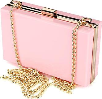 YYW Women Cute Transparent Clear See Through Box Clutch Acrylic Evening Handbag Cross-Body Purse Bag (Pink)