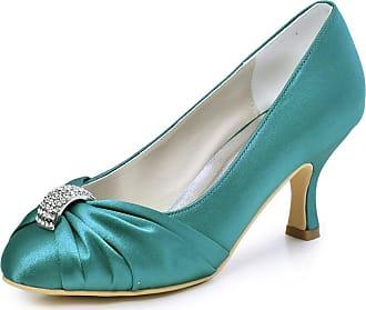 Elegantpark HC1526 Womens Pumps Satin Rhinestones Closed Toe Mid Heel Wedding Party Dress Court Shoes Teal UK 6