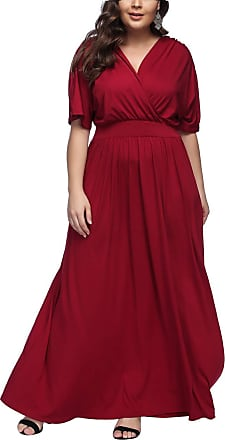 FeelinGirl Womens Plus Size Party Dress Deep V Short Sleeves Summer Maxi Dress Red 3XL