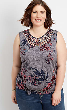 Maurices Plus Size - Floral Lattice Neck Knot Front Tank