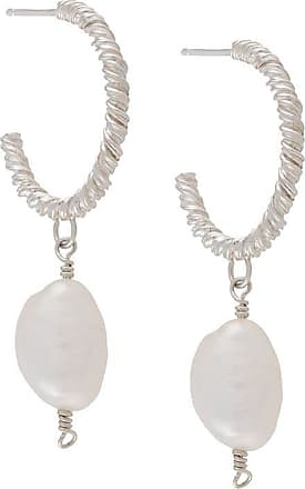 Natalie Perry Jewellery Par de brincos de argolas com detalhe de pingente - Prateado
