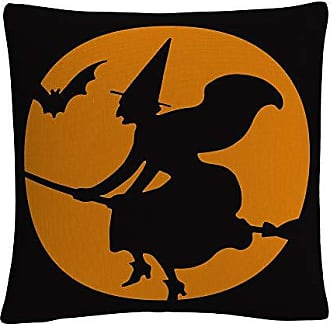 Trademark Fine Art The Witches Broom Over Orange Moon Halloween by ABC