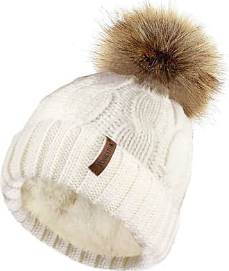 TOSKATOK Ladies Chunky Soft Cable Knit hat with Cosy Fleece Liner and Detachable Faux Fur Pompom-Cream