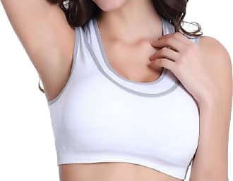 Abetteric Sutiã esportivo feminino Abetteric de duas camadas, elástico, sem aro, para ioga, Branco, X-Large