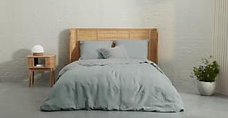 MADE.COM Elijah linge de lit en lin et bambou, double (200 x 200), vert deau et gris