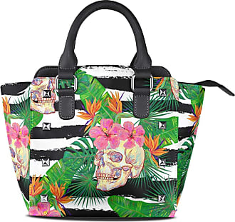 NaiiaN Shoulder Bags Purse Shopping for Women Girls Ladies Student Handbags City Tote Bag Light Weight Strap Leather Tropical Pattern Seamless Flower Skulls