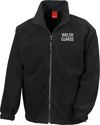 Military Online Welsh Guards Text Embroidered Logo - Official British Army Full Zip Heavyweight Fleece Jacket Black