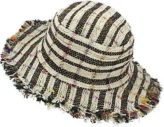 Loud Elephant Frayed Brim Hemp Sun Hat - Black & White