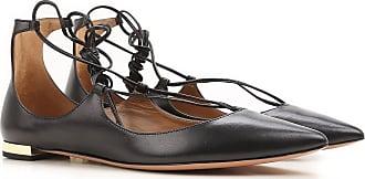 Aquazzura Ballet Flats Ballerina Shoes for Women On Sale, Black, Leather, 2017, US 7.5 (EU 37.5)